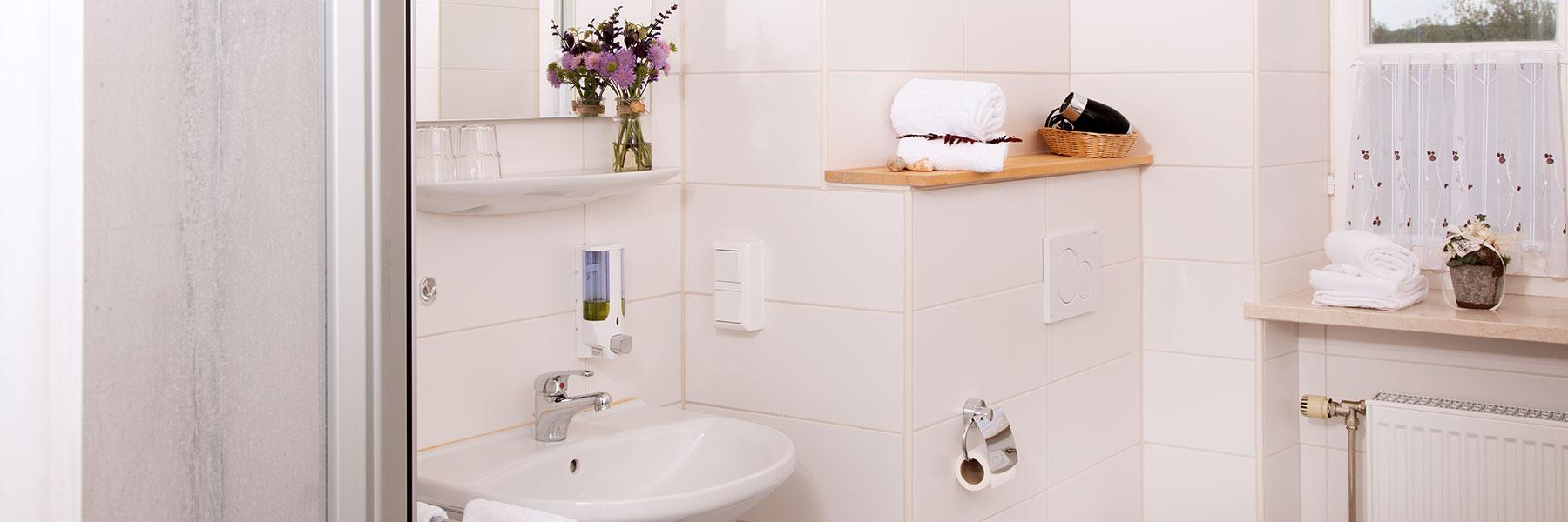 Badezimmer in der Ferienwohnung im Hotel Alter Weißbräu in Bad Birnbach