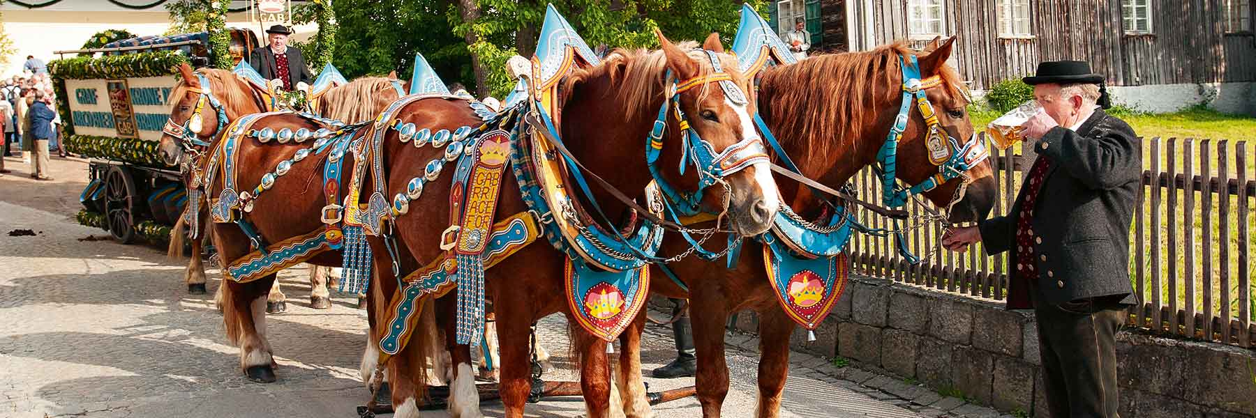 Rottaler Traditionen: Pferdezug an einem Feiertag